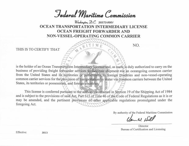 OTI FMC license for Freight Forwarder & NVOCC